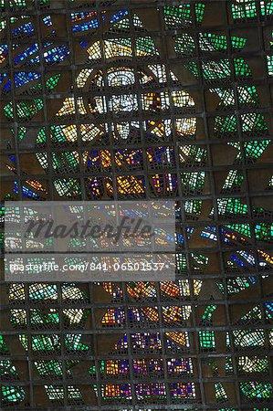 Stained glass window of Metropolitan Cathedral of St. Sebastian, Centro, Rio de Janeiro, Brazil, South America