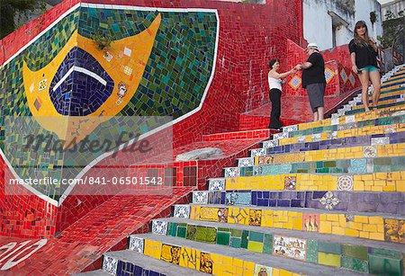 Tourists on Selaron Steps (Escadaria Selaron), Lapa, Rio de Janeiro, Brazil, South America