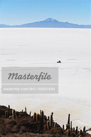 Tourist jeep on Salar de Uyuni (Salt Flats of Uyuni) from Isla del Pescado (Fish Island), Potosi Department, Bolivia, South America
