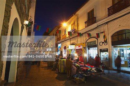 Street market at dusk, La Paz, Bolivia, South America