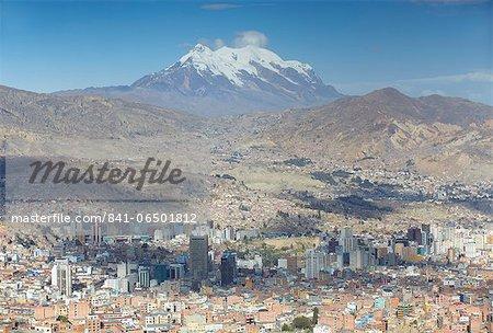 View of Mount Illamani and La Paz, Bolivia, South America