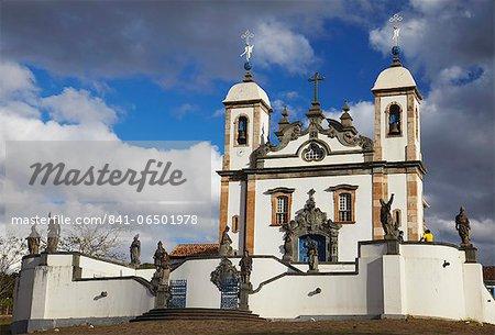 Sanctuary of Bom Jesus de Matosinhos and The Prophets sculpture by Aleijadinho, UNESCO World Heritage Site, Congonhas, Minas Gerais, Brazil, South America