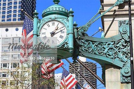 Marshall Field Building Clock, Chicago, Illinois, United States of America, North America
