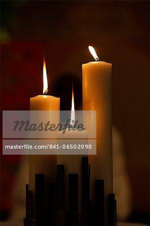 Church candles, Hauts-de-Seine, France, Europe