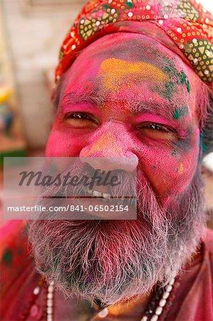 Holi celebration in Goverdan, Uttar Pradesh, India, Asia