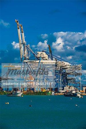 The modern cargo port of Birzebbuga, Malta, Mediterranean, Europe