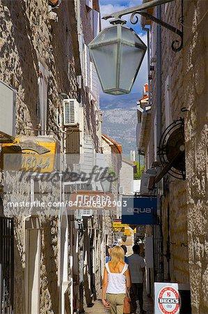 Narrow street, Old Town, Budva, Montenegro, Europe