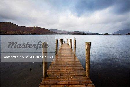 Landing stage on Derwentwater, Lake District National Park, Cumbria, England, United Kingdom, Europe