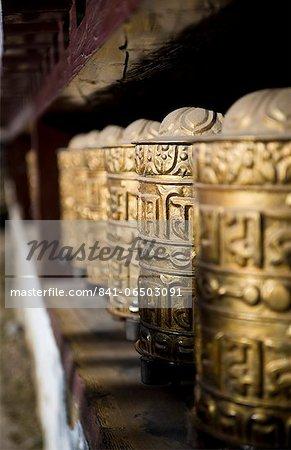 Buddhist prayer wheels, Namche Gompa (Monastery), Namche Bazaar, Solu Khumbu Region, Nepal, Himalayas, Asia