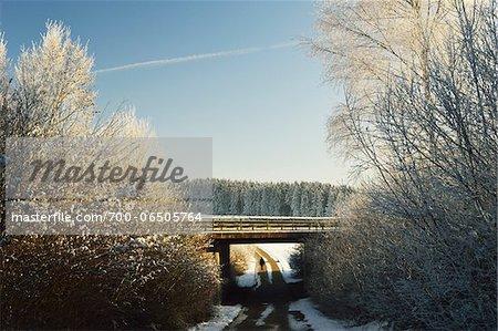 Person Walking on Country Road Underneath Bridge in Winter, near Villingen-Schwenningen, Baden-Wuerttemberg, Germany