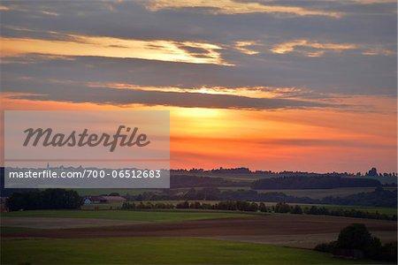 Overview of Farmland at Sunset, Schanzberg, Upper Palatinate, Bavaria, Germany, Europe