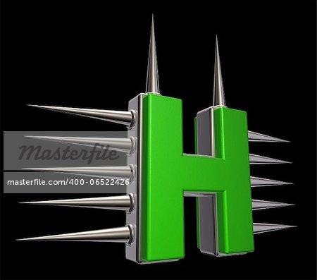 letter h with metal prickles on black background - 3d illustration