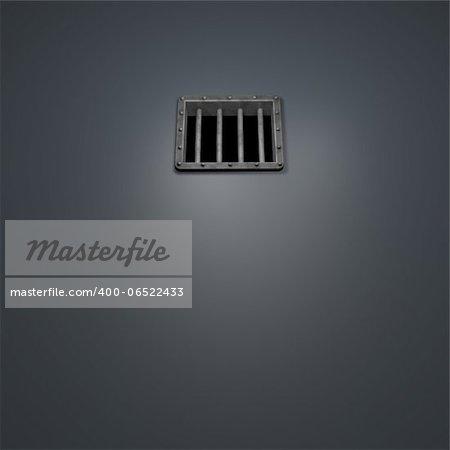 riveted metal prison window - 3d illustration