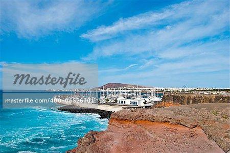 The Atlantic Ocean breaking near Playa Blanca Lanzarote