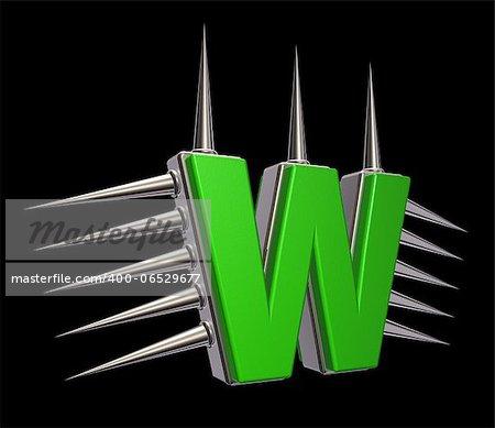 letter w with metal prickles on black background - 3d illustration