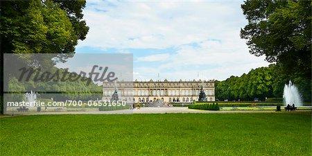 View of New Herrenworth Palace and Formal Garden, Herrenchiemsee, Herreninsel, Chiemsee, Oberbayern, Bavaria, Germany