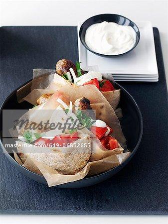 Plate of chicken pita sandwiches