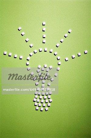 Sugar cubes in light bulb shape