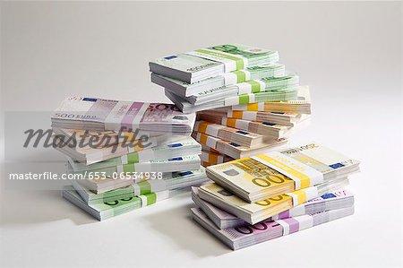 Stacks of large billed Euro banknotes