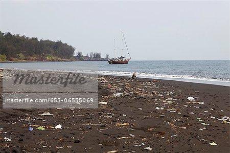 Litter washed up on the beach of Krakatoa Island, Indonesia