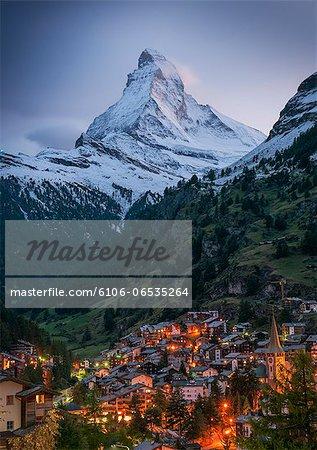 Zermatt at Night with the Matterhorn