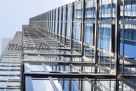 Low angle view of urban skyscraper