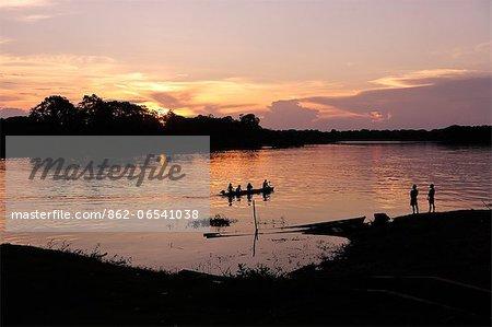 Sunset on the Amazon River, near Puerto Narino, Colombia