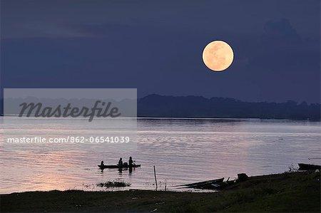 Full Moon over the Amazon River, near Puerto Narino, Colombia