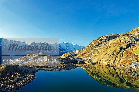 Europe, France, French Alps, Haute Savoie, Chamonix, Lac Blanc and Mt Blanc