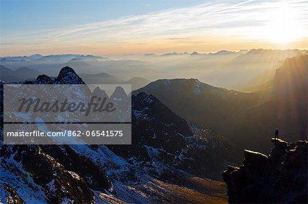Europe, France, French Alps, Haute Savoie, Chamonix, Aiguilles Rouge mountains MR