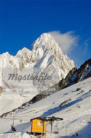 Europe, France, French Alps, Haute Savoie, Chamonix, Argentiere and Grand Montet ski area
