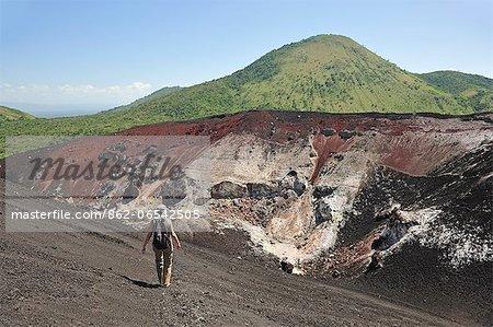 Man trekking down Volcan Cerro Negro, Leon, Nicaragua, Central America