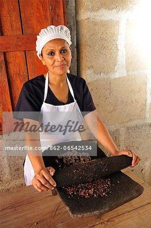 Worker in a chocolate factory, El Castillio del Cacao, Matagalpa, Nicaragua, Central America