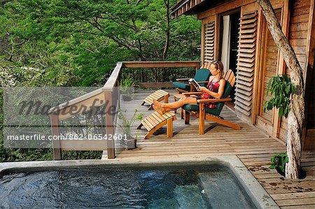 Woman relaxing at the Aqua Wellness Resort, Nicaragua, Central America
