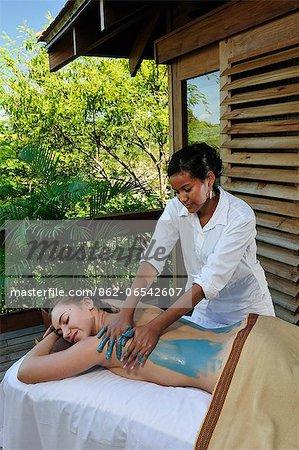 Woman having a massage at the Aqua Wellness Resort, Nicaragua, Central America