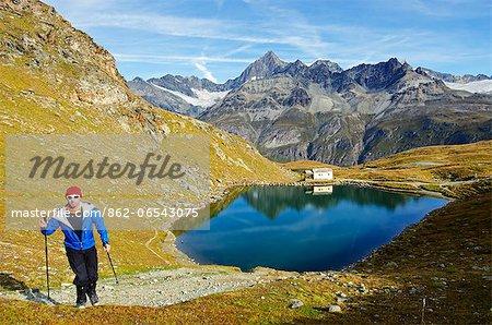 Europe, Switzerland, Swiss Alps, Valais, Zermatt,  lake at Schwarzsee paradise , MR,