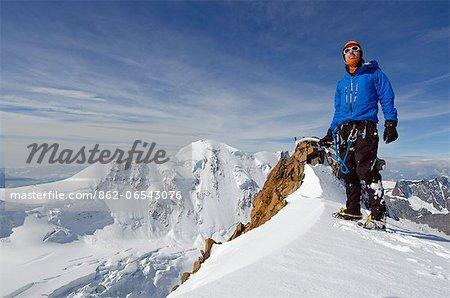 Europe, Switzerland, Swiss Alps, Valais, Zermatt, climber on Monte Rosa Duforspitze , 4634m, highest peak in Switzerland , MR,