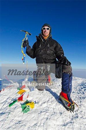 USA, United States of America, Alaska, Denali National Park, summit, climber on Mt McKinley 6194m, highest mountain in north America , MR,