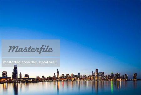 USA, Illinois, Chicago. The City Skyline from near the Shedd Aquarium.