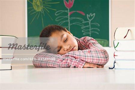 Girl Sleeping in Classroom, Baden-Wurttemberg, Germany