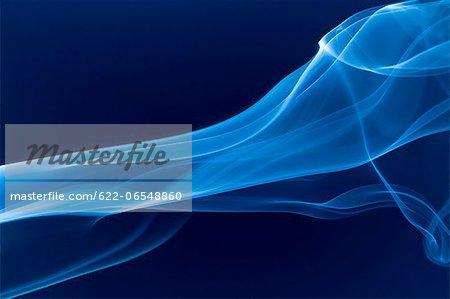 White smoke on blue background
