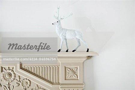 Reindeer figurine on mantlepiece