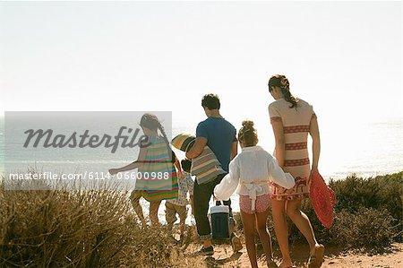 Family walking to beach