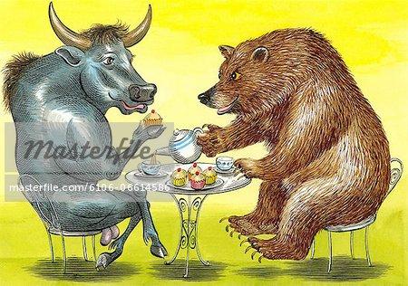 Bull and Bear having a cup of tea