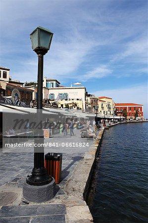 Bars and restaurants around the Venetian harbour of the Mediterranean port of Chania (Canea), Crete, Greek Islands, Greece, Europe