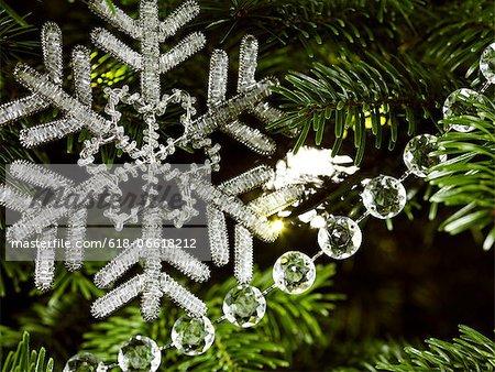 Beaded snowflake decoration close up