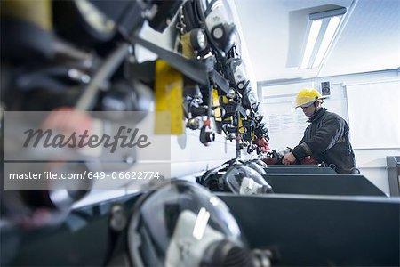 Firefighter in training room