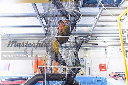 Oil worker training in escape net