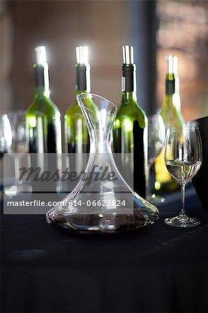 Wine tasting flask on table