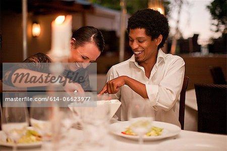Couple having dinner in restaurant